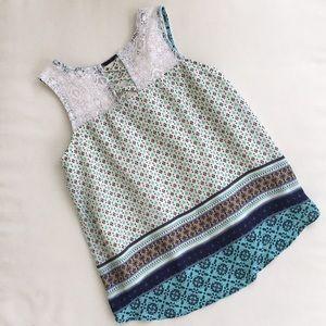 3/$25 Boho Pattern & Lace Flowy Sleeveless Top